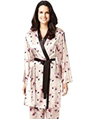 Per Una Floral Print Satin Dressing Gown