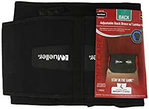 Mueller Adjustable Lumbar Back Brace, Black, Plus Size, 1-Count Package