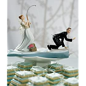 Gone Fishing Porcelain Wedding Cake Topper - Caucasian Couple
