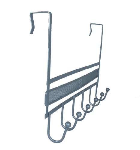 Over The Door 6 Hook Organizer Rack - Silver by DecoBros®