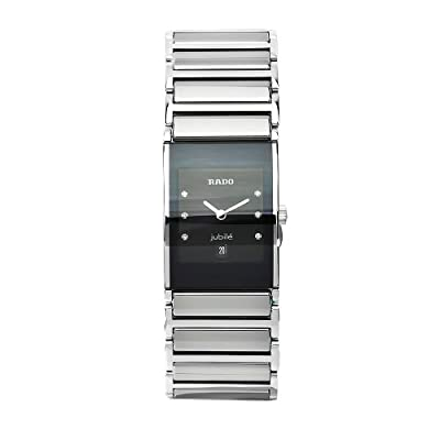 Rado Women's R20785759 Integral Black Dial Ceramic Case Six Round Cut Diamonds Watch
