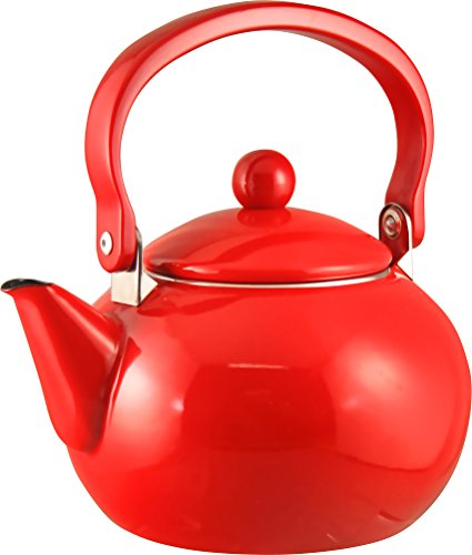 Calypso Basics 2-Quart Enamel-On-Steel Teakettle, Red
