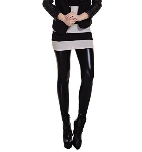 Women Liquid Wet Look Shiny Metallic Stretch Leggings Skinny Pants (Black)
