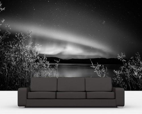 Bilderdepot24-selbstklebende-Fototapete-Nordlichter-II-in-Yukon-Kanada-schwarz-weiss-100x65-cm-direkt-vom-Hersteller