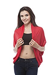 Open Cardigan with side layered (Medium, Red)