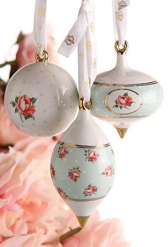Royal Albert Traditional Holiday Ornaments Polka Rose Set/3