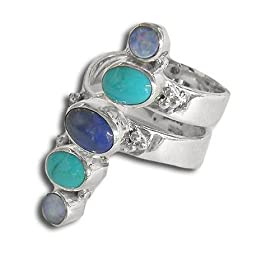Sterling Silver Lapis, Turquoise &amp; Opal Doublet Ring, Size 7 by Sajen