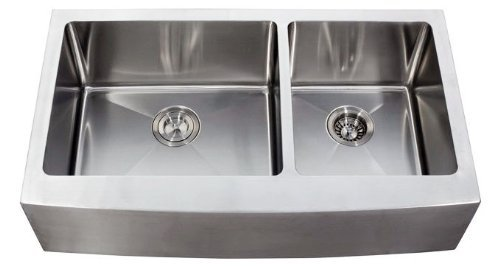 36 Inch Stainless Steel Curved Front Farm Apron Kitchen Sink - 15 mm Radius Design 60/40 Double Bowl 16 Gauge