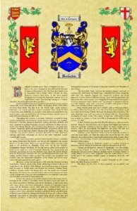 MacFerren Coat of Arms / Family Crest with Armorial History on Beautiful 11 x 17 Parchment Paper
