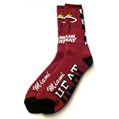Buy Miami Heat Flip Side Crew Socks Mens Size Large 10-13 - For Bare Feet by For Bare Feet