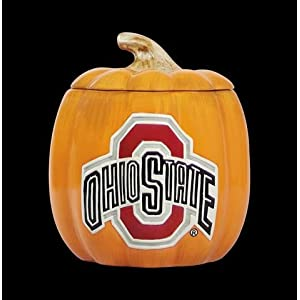 Ohio State University Buckeyes Halloween Ceramic Pumpkin Cookie Jar