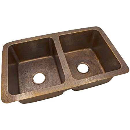 The Copper Factory CF164AN Solid Hand Hammered Copper 34-Inch by 21-Inch Large Double Bowl Drop-In/Undermount Sink, Antique Copper