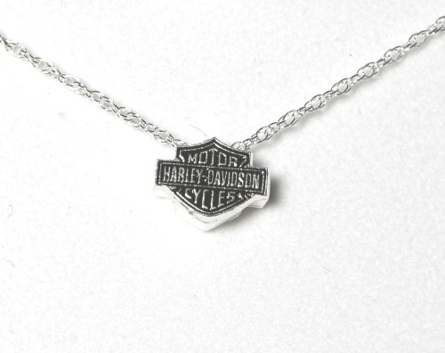 Harley-Davidson® Stamper® Women's Sterling Silver Necklace with Two Dimensional Sterling Silver Pendant. HN7179