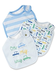 3 Pack Pure Cotton Car Print Bibs