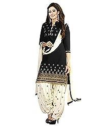 Look Smart Women's Polycoton Unstitched Dress Material (BANNO BLACK_Multicolor_Free Size)