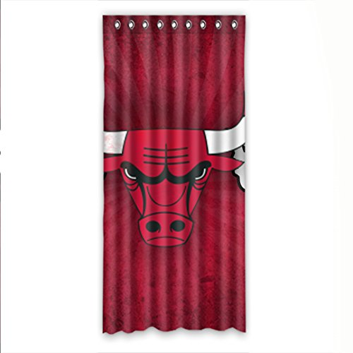 ZXXQE Design NBA Chicago Bulls Pattern Patio Panel Curtain Polyester 50x108 1 Piece