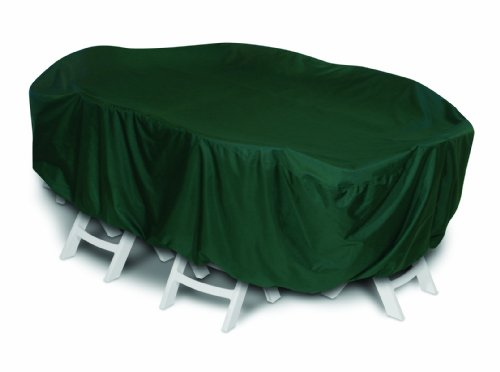 Two Dogs Designs 92-Inch Oval/Rectangle Table and Chairs Cover, Hunter Green