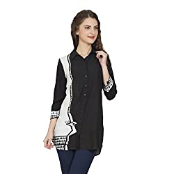 Desi Belle Casual Black Printed Rayon Shirt