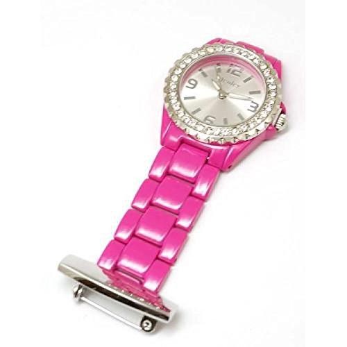 henley-glamour-hf015-montre-a-gousset-infirmiere-en-email-rose-vif