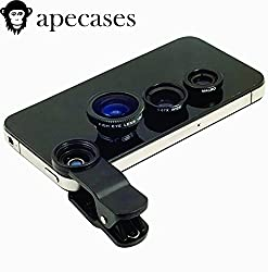 ApeCases Branded Universal 3 in 1 Cell Phone Camera Lens Kit - Fish Eye Lens / 2 in 1 Macro Lens & Wide Angle Lens