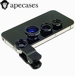 ApeCases Branded Universal 3 in 1 Cell Phone Camera Lens Kit - Fish Eye Lens / 2 in 1 Macro Lens & Wide Angle Lens