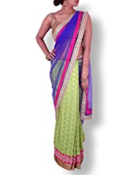Blue Green Half And Half Net Georgette Saree With Golden Pink Cutwork And Pita Work Borders