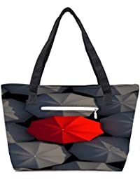 Pack Of 2 Red And Black Umbrella Combo Tote Shopping Grocery Bag With Coin Pencil Purse