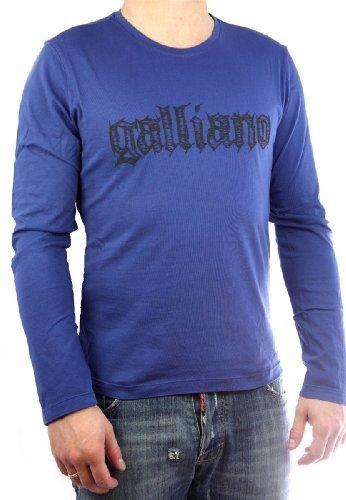galliano-uomo-maglietta-galliano-blu-maniche-lunghe-cotone-blu-100-cotone-100-cotonengroessen-uomo-s