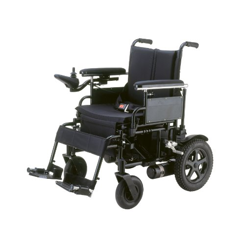 """Drive Medical Cirrus Plus Folding Power Wheelchair With Footrest And Batteries, Black, 16"""""""