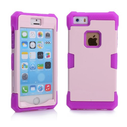 Kabb New Glow In The Dark Noctilucent Soft Silicone Hard Case Cover For Iphone 5 (Pink+Purple)+1 Screen Protector For Iphone 5 + 1 Small Gift