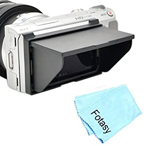 Fotasy LCDHoodNEX5T LCD Pop-Up Screen Hood Cover for Sony E-Mount NEX-5R NEX-5T with Premier Cleaning Cloth (Black)