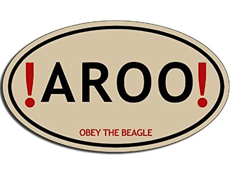 Oval AROO Obey the BEAGLE Sticker (dog decal)
