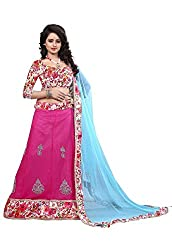 Granth Pink Georgette Straight Semi Stitched Lehenga