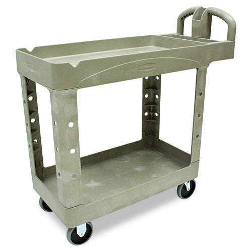 Rubbermaid Commercial Products - Rubbermaid Commercial - Heavy-Duty Utility Cart, 2-Shelf, 500lbs, 17-7/8 x 39-1/4 x 33-1/4, Beige - Sold As 1 Each - Won't rust, dent, chip or peel. - Lightweight for easy and quiet maneuverability. - No sharp edges to nick walls or furniture. - Comfort-grip handle. - Snap-and-lock assembly.