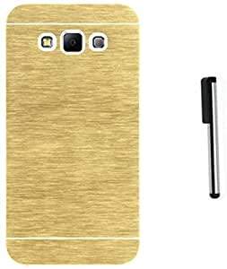 Tidel Golden Durable Aluminium Brushed Metallic Back Cover For Samsung Galaxy J7 With Stylus