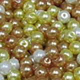 100 pieces 6mm Glass Pearl Beads - Golden Mix - A0986