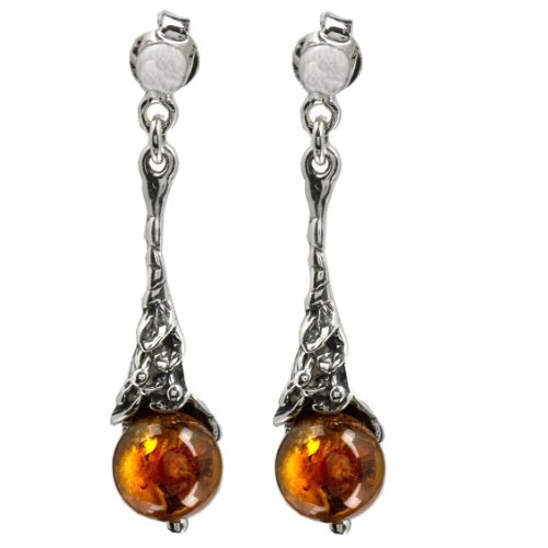Sterling Silver Honey Amber Classic Earrings