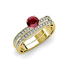 buy Ruby & Diamond Euro Shank Engagement Ring & Wedding Band Set 1.25 To 1.29 Ct Tw 14K Yellow Gold.Size 7.0