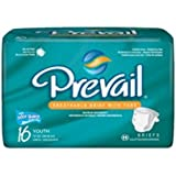 """First Quality Prevail PM&Trade; Youth Brief Medium 15"""" to 22"""" Waist, Latex-free (Bag of 16 Each)"""