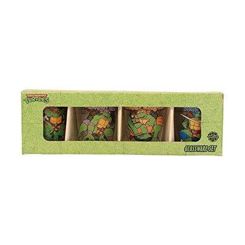Silver Buffalo NT031SG8 Nickelodeon Teenage Mutant Ninja Turtles (TMNT) Character and Names 4 Piece Mini Glass Set, 1 oz, Clear (Ninja Turtles Glasses compare prices)