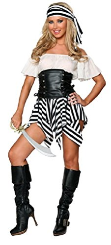 V28 Women's Cosplay Halloween Fancy Dress Costume Many Styles (ONE SIZE, Pirate-Black)