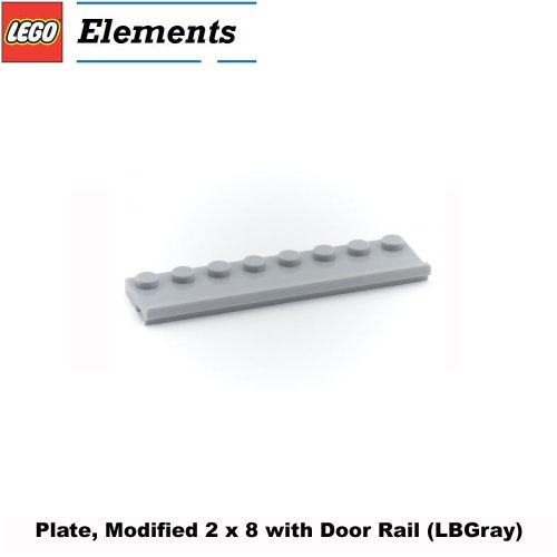 Lego Parts: Plate, Modified 2 x 8 with Door Rail (LBGray) - 1