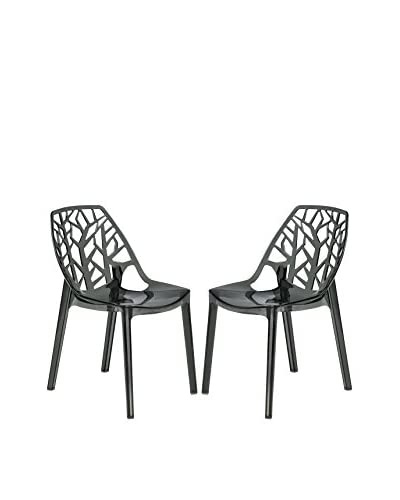 LeisureMod Set of 2 Modern Cornelia Dining Chairs, Transparent Black