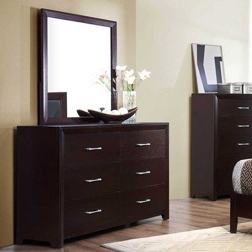 Homelegance Edina 6 Drawer Dresser w/ Mirror in Espresso Cherry