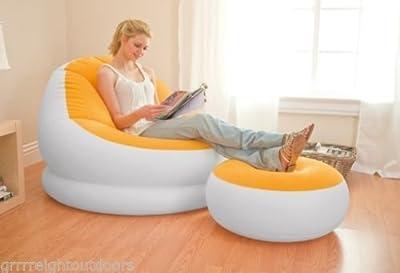 Intex-Inflatable-Orange-Cafe-Chaise-Chair-Waterproof-Indoor-Outdoor-Flocking