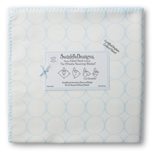 Swaddledesigns Organic Ultimate Receiving Blanket, Mod Circles On Ivory, Pastel Blue