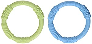 Lifefactory Multi Sensory Silicone Teether, Sky/Spring Green, 2 Count