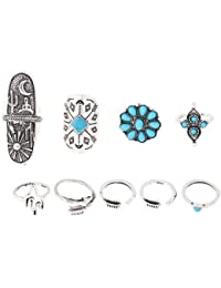 Habors Silver 9 Pieces Midi Ring Set For Women (JFRD3023)