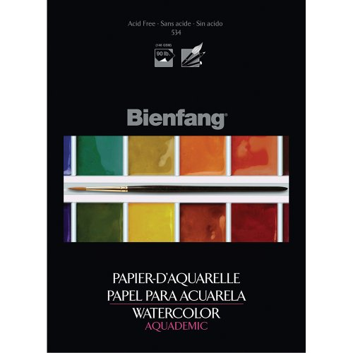 Bienfang Aquademic 9 by 12-Inch Watercolor Paper Pad, 15 Sheets