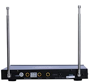 Audio2000s 6023vm VHF Dual Channel Ultra-slim Wireless Microphone w/ 2 Lapel (Lavalier) Mic from Audio 2000s